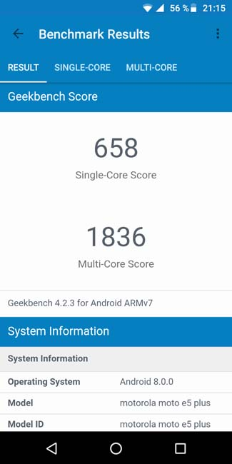 Moto E5 Plus Geekbench4