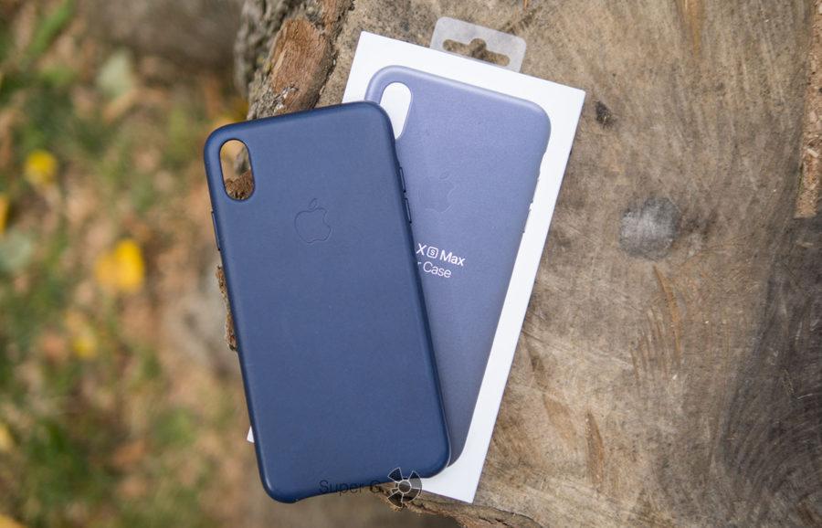 Кожаный чехол для Apple iPhone XS Max - синий, кожаный