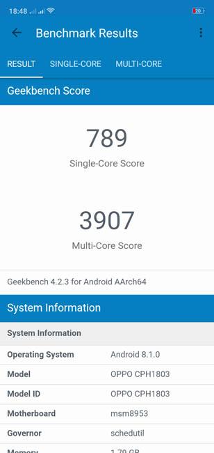 Тест производительности Oppo A3s в Geekbench 4
