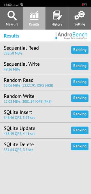 Скорость чтения памяти Oppo A3s
