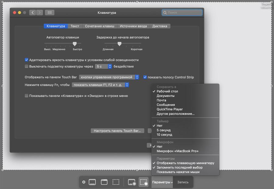 Расширенные инструменты для скриншотов в macOS Mojave