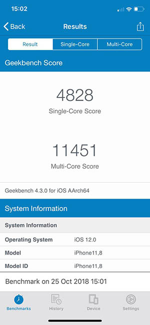 Тест iPhone Xr в Geekbench 4