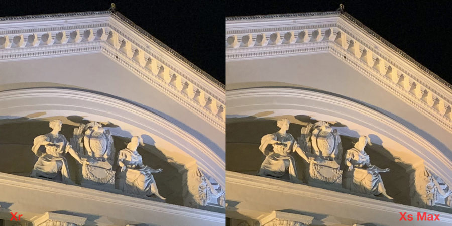 Сравнение камер iPhone Xr и iPhone Xs Max (ночь)