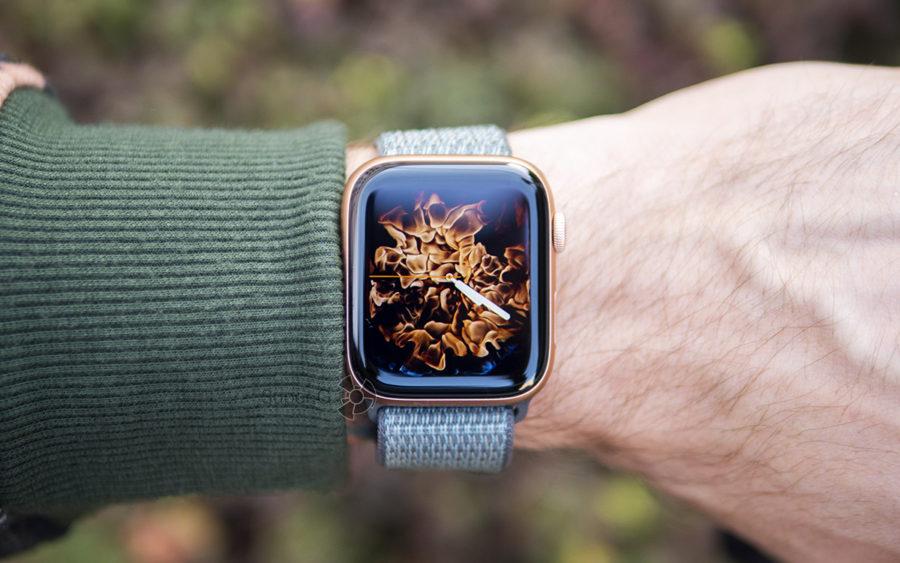Видеозапись огня в циферблате Apple Watch Series 4