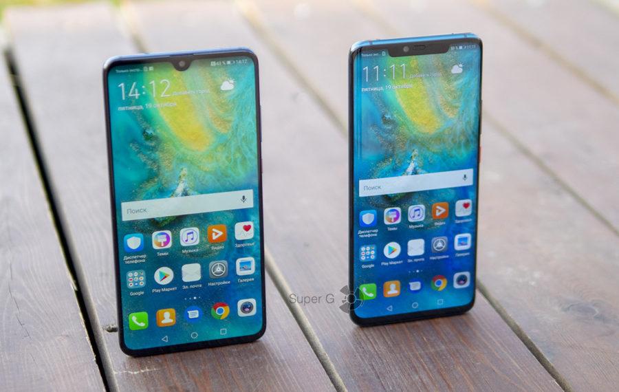 Huawei Mate 20 (слева) - Huawei Mate 20 Pro (справа)
