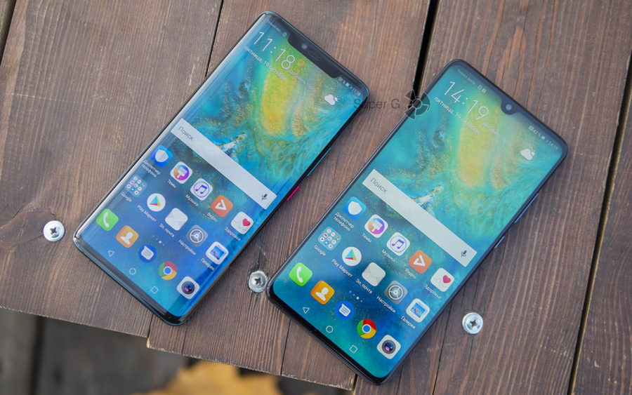 Дисплей Huawei Mate 20 Pro (слева) и Huawei Mate 20 (справа)