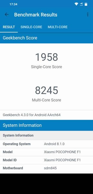 Geekbench 4 тест Pocophone F1