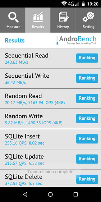 Тест скорости записи и чтения памяти в Jinga Pass Plus