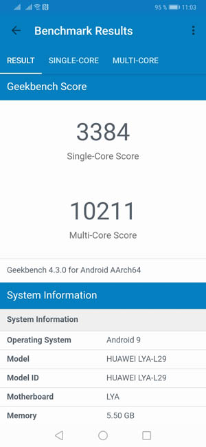 Тест Huawei Mate 20 Pro в Geekbench 4