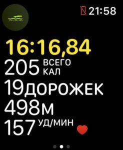 Во время плавания на экране Apple Watch Series 4 показывается это