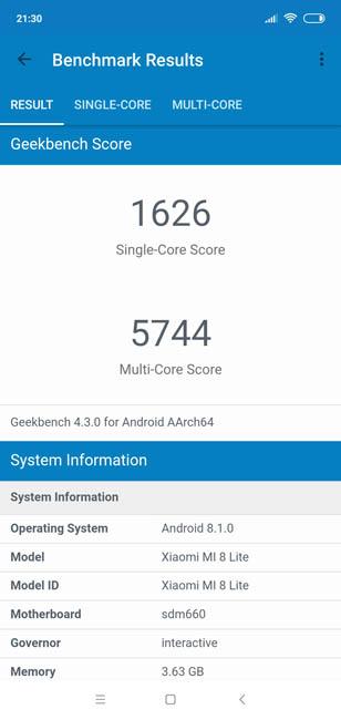 Xiaomi Mi8 Lite тест Geekbench 4