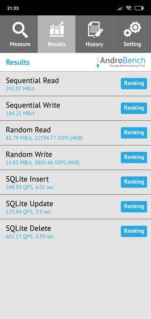 Скорость чтения и записи памяти Xiaomi Mi8 Lite
