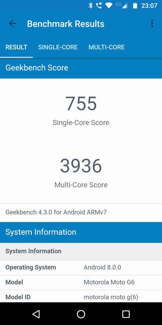 Тест производительности Motorola Moto G6 в Geekbench 4