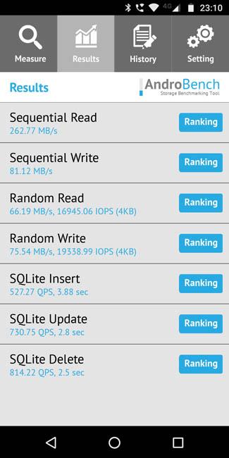 Скорость чтения памяти Motorola Moto G6