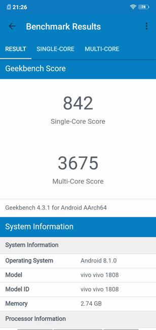 Тест производительности Vivo Y81 в Geekbench 4
