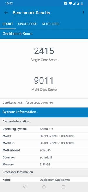 Тест OnePlus 6T в Geekbench 4