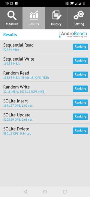 Тест скорости чтения и записи памяти OnePlus 6T