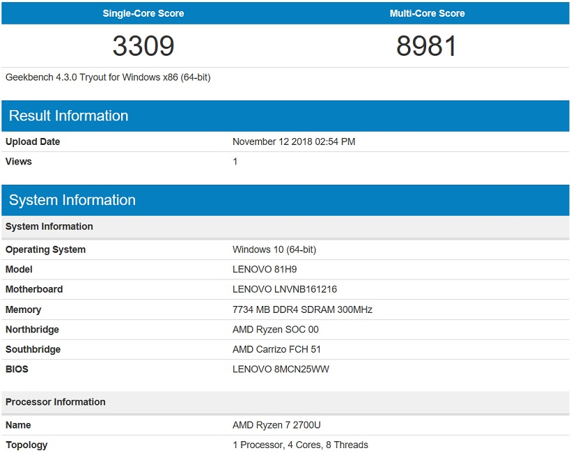 Lenovo Yoga 530 Geekbench 4