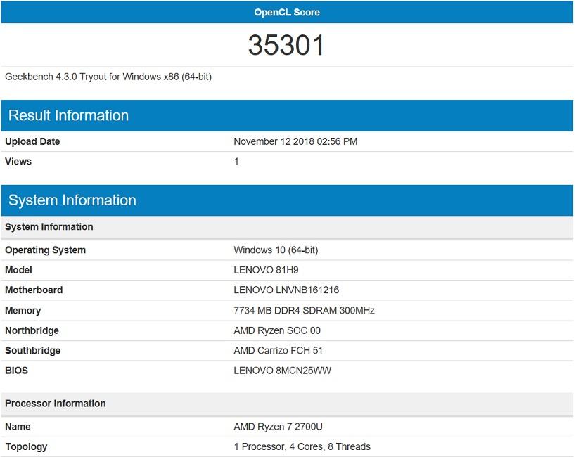 Бенчмарк Lenovo Yoga 530