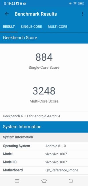 Vivo Y95 Geekbench 4