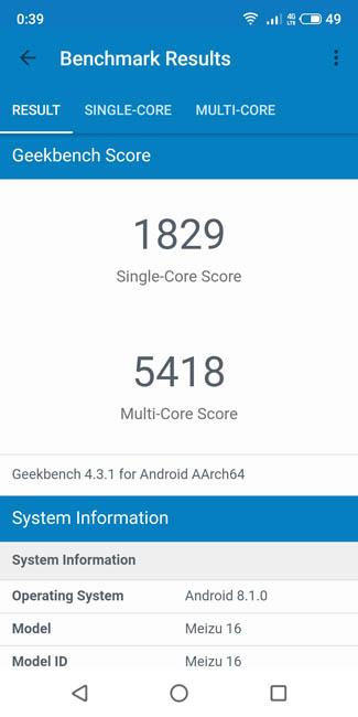 Тест Meizu 16x в Geekbench 4
