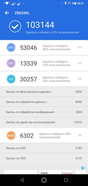 Тест AnTuTu Asus Zenfone Max (M2)