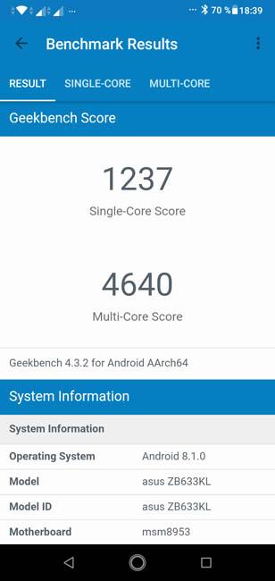 Производительность Asus Zenfone Max (M2) в Geekbench 4