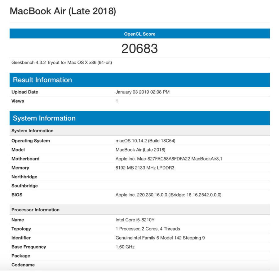 MacBook Air (Late 2018) тест OpenCL в Geekbench 4