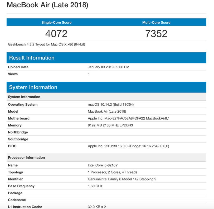 MacBook Air (Late 2018) тест производительности в Geekbench 4