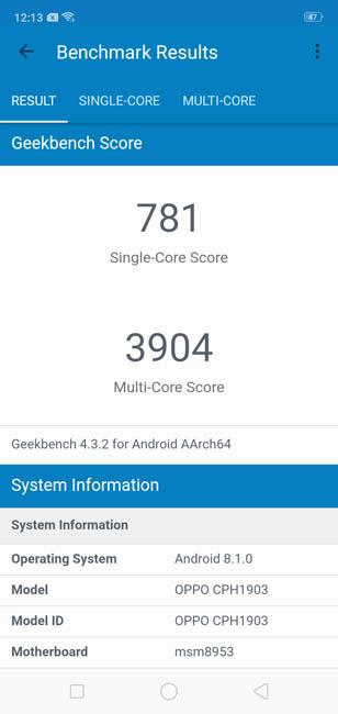Geekbench 4 Oppo AX7