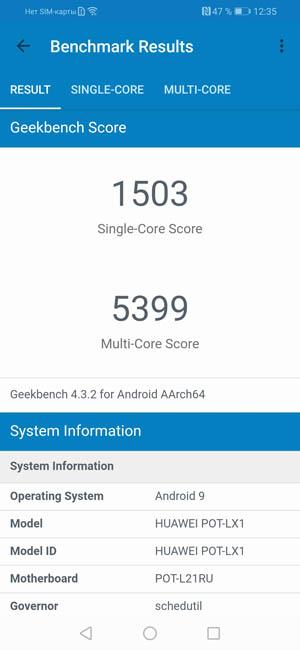 Geekbench 4 Huawei P Smart 2019