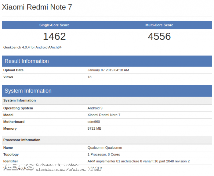 Xiaomi Redmi Note 7 в тесте Geekbench 4
