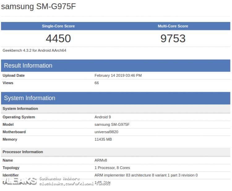 Samsung Galaxy S10+ в тесте Geekbench 4