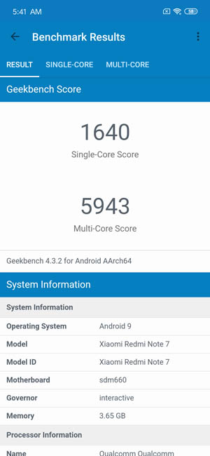 Xiaomi Redmi Note 7 Geekbench 4