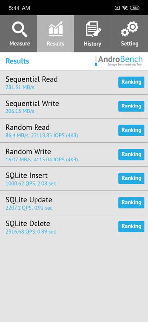 Тест скорости памяти Xiaomi Redmi Note 7