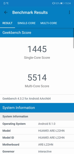 Тест Geekbench 4 Honor 8X Max
