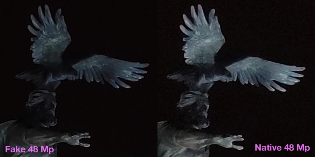 Два кропа: искусственный, сделанный из 12 Мп фото и нативный, из 48 Мп (ночь)