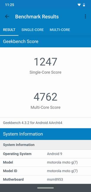 Тест Geekbench 4 Moto G7