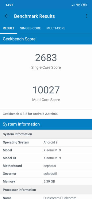 Тест Xiaomi Mi 9 в Geekbench 4