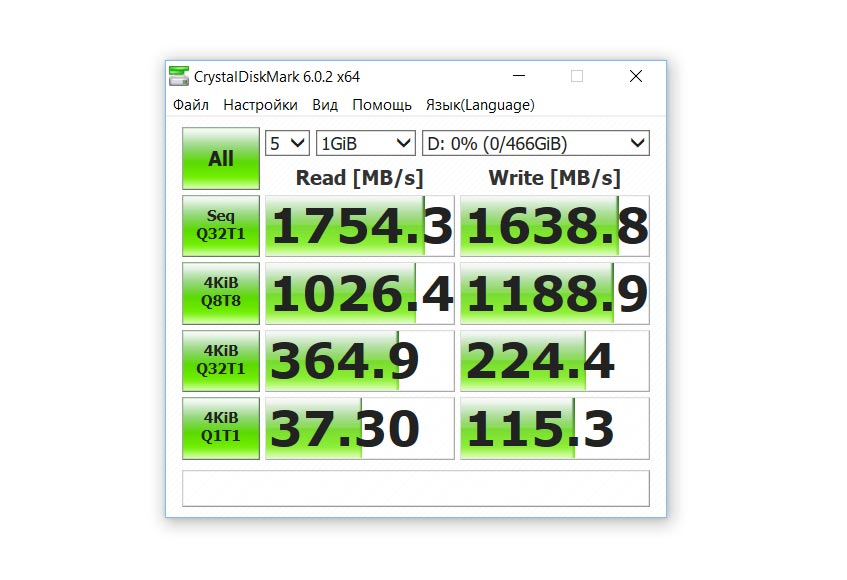 CrystalDiskMark тест скорости Western Digital WD Black SN750 на 500 ГБ