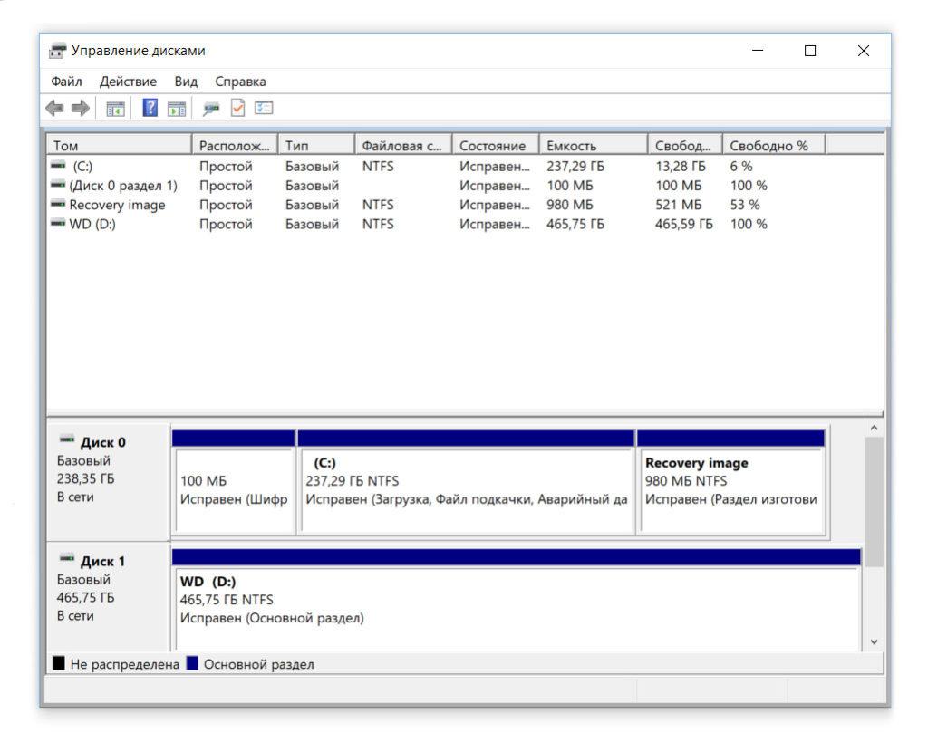 Инициализация установленного в компьютер SSD-диска в Windows 10 Xiaomi Mi Notebook Pro