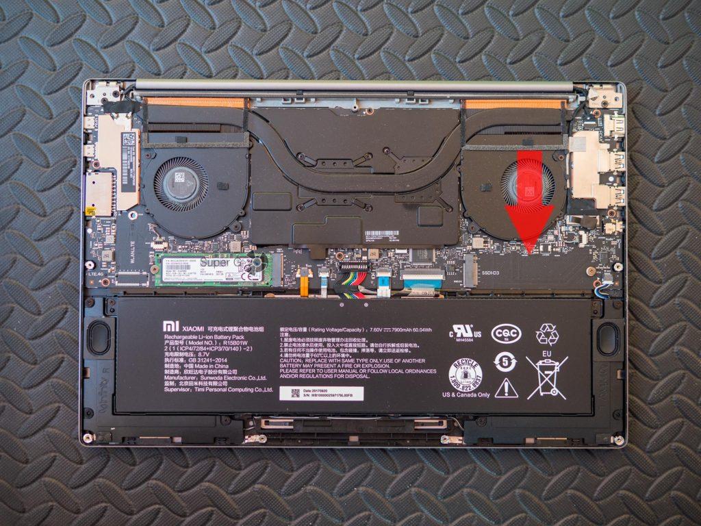 Свободный порт PCIe M.2 в ноутбуке Xiaomi Mi Notebook Pro 15,6