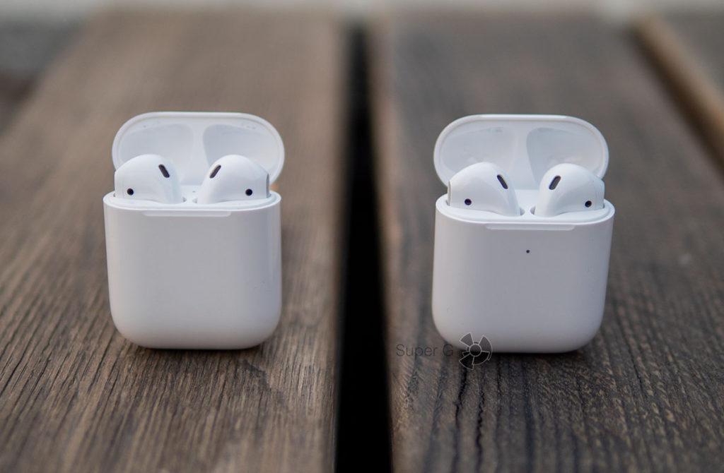Отличия Apple AirPods 2 от первого поколения (слева)