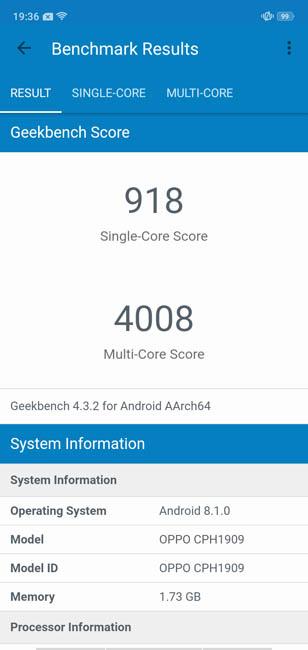 Тест Oppo A5s в Geekbench 4