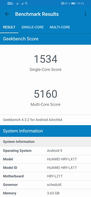 Honor 10i Geekbench 4
