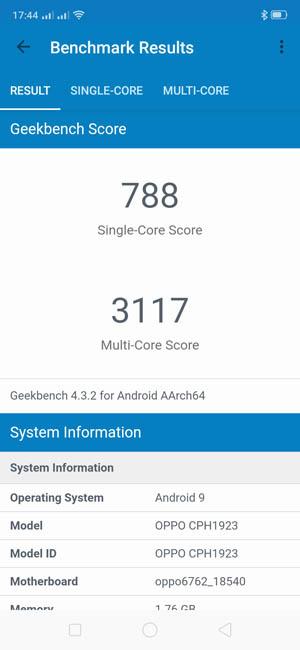 Oppo A1k Geekbench 4 тест