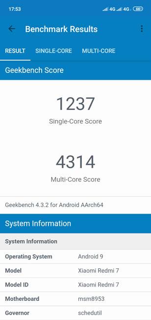 Geekbench 4 Redmi 7