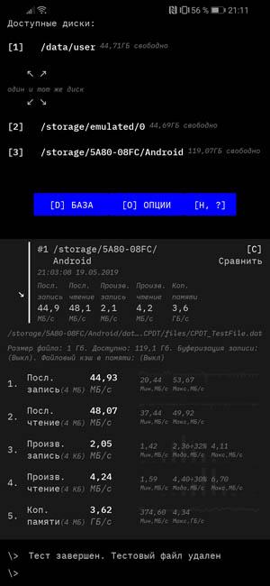 Тест скорости чтения и записи SanDisk Extreme Micro SD 128 GB