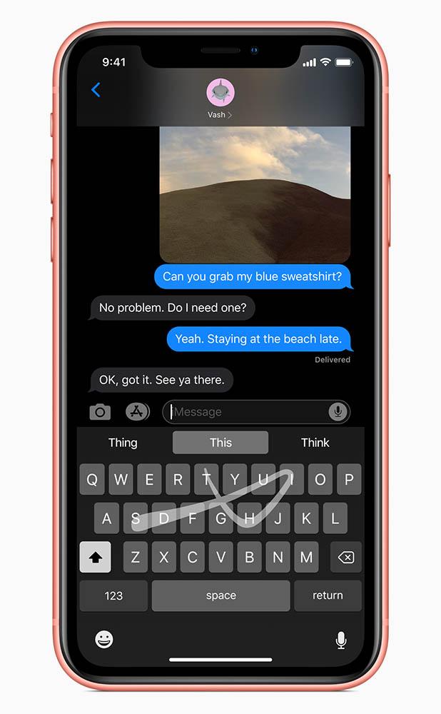 Непрерывный ввод на клавиатуре iOS 13