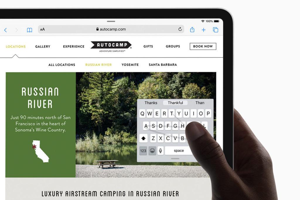 Клавиатура с непрерывным вводом на iPadOS